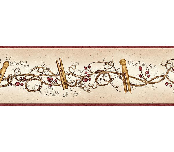 Burgundy Clothespins and Rosehips Wallpaper Border 600x525