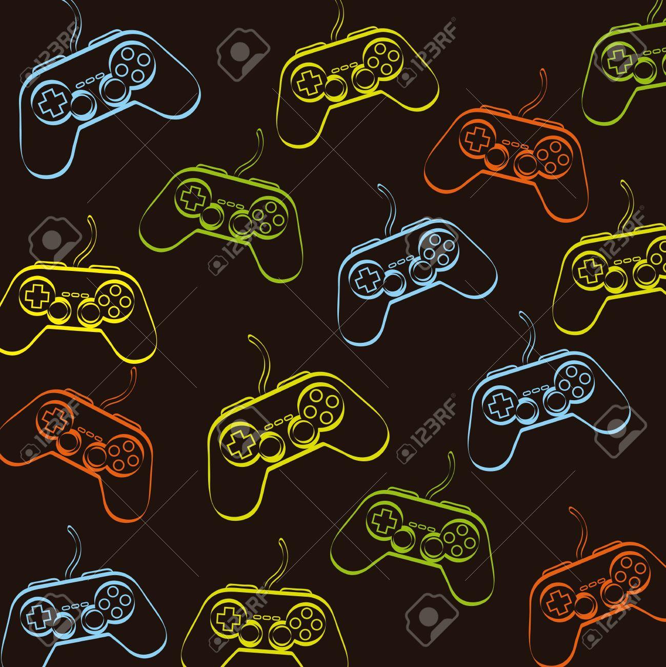 Gamepad Over Black Background Vector Illustration Royalty 1299x1300