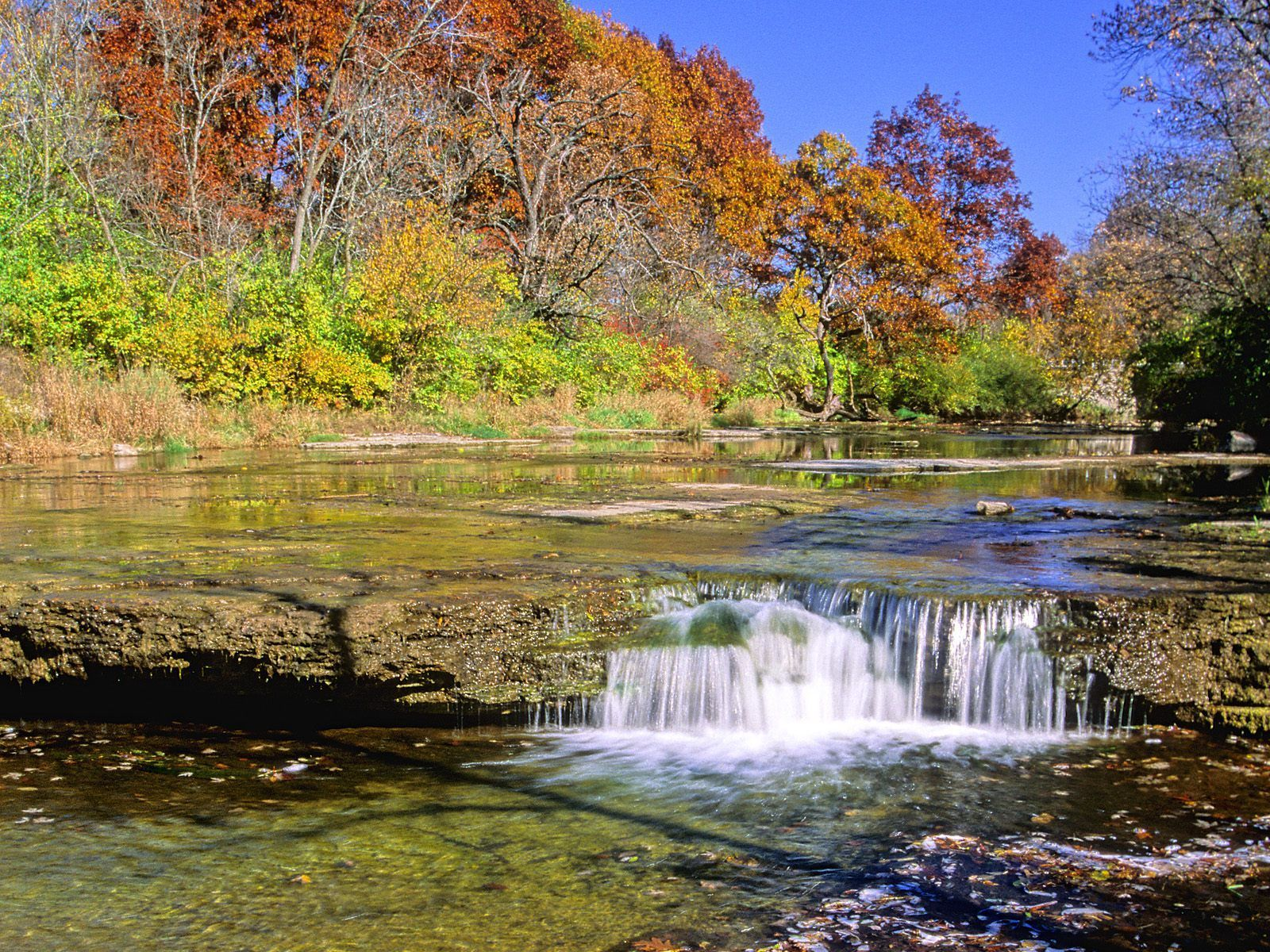 Nature Prairie Creek Falls In Autumn Will County Illinois 1600x1200