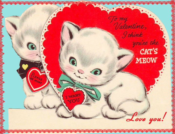 DiGiTaL STaMPS FREE Digital Stamp   Vintage Kittens Valentine 718x552