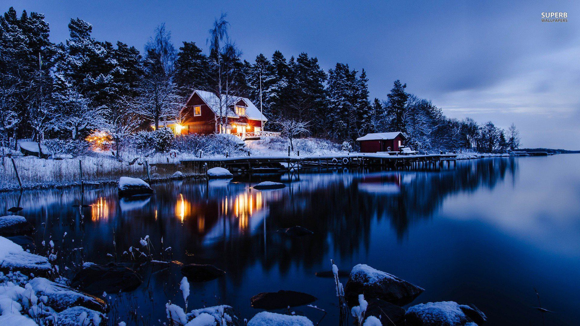 Lakeside Winter Cabin Wallpaper Coffee Books Sit Relax Read 1920x1080