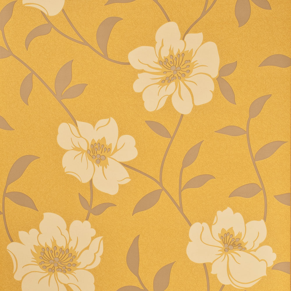 Free Download Fresco Floral Patterned Wallpaper Mustard Yellow