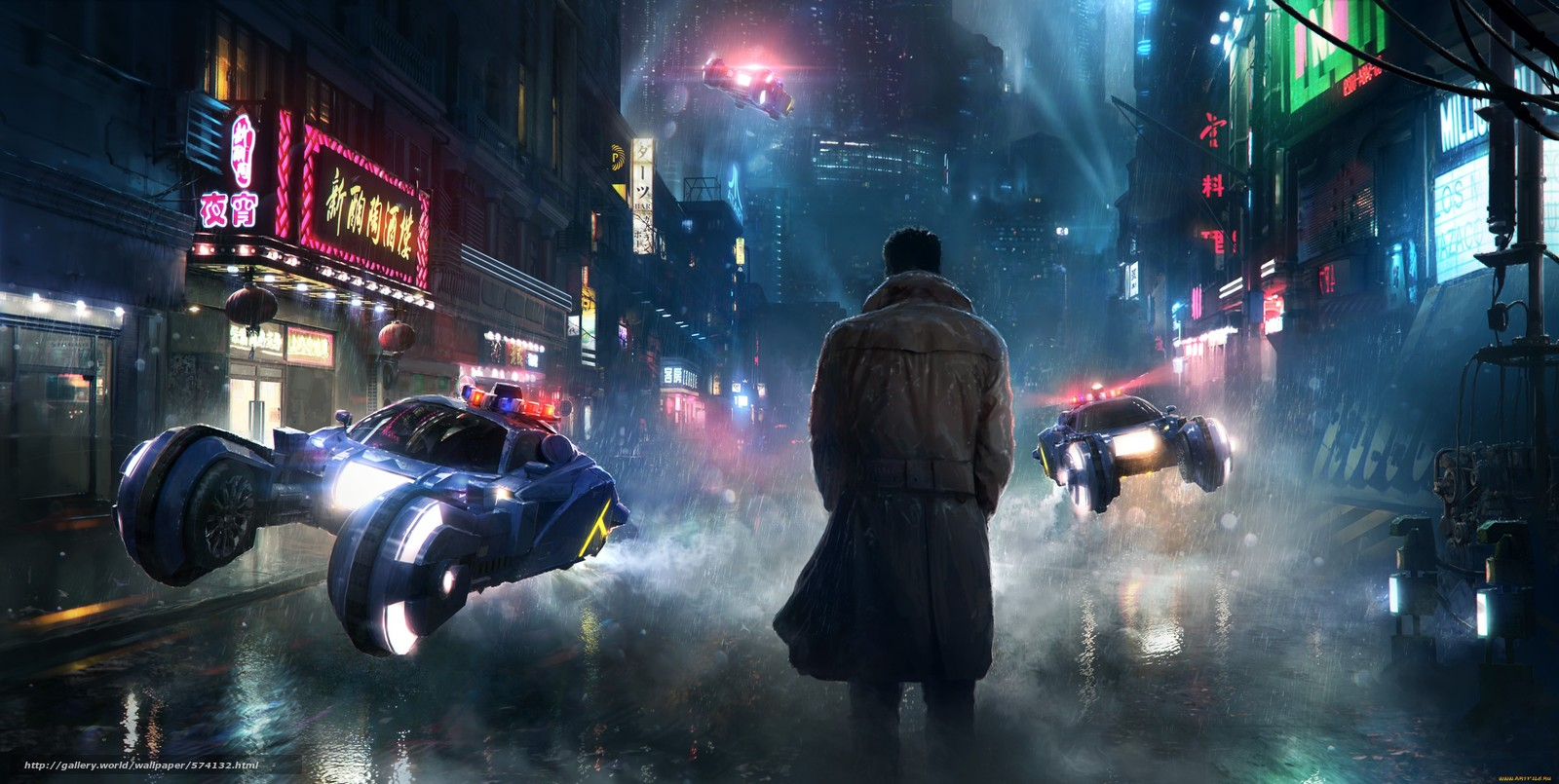 wallpaper Blade Runner Deckard street desktop wallpaper 1600x805