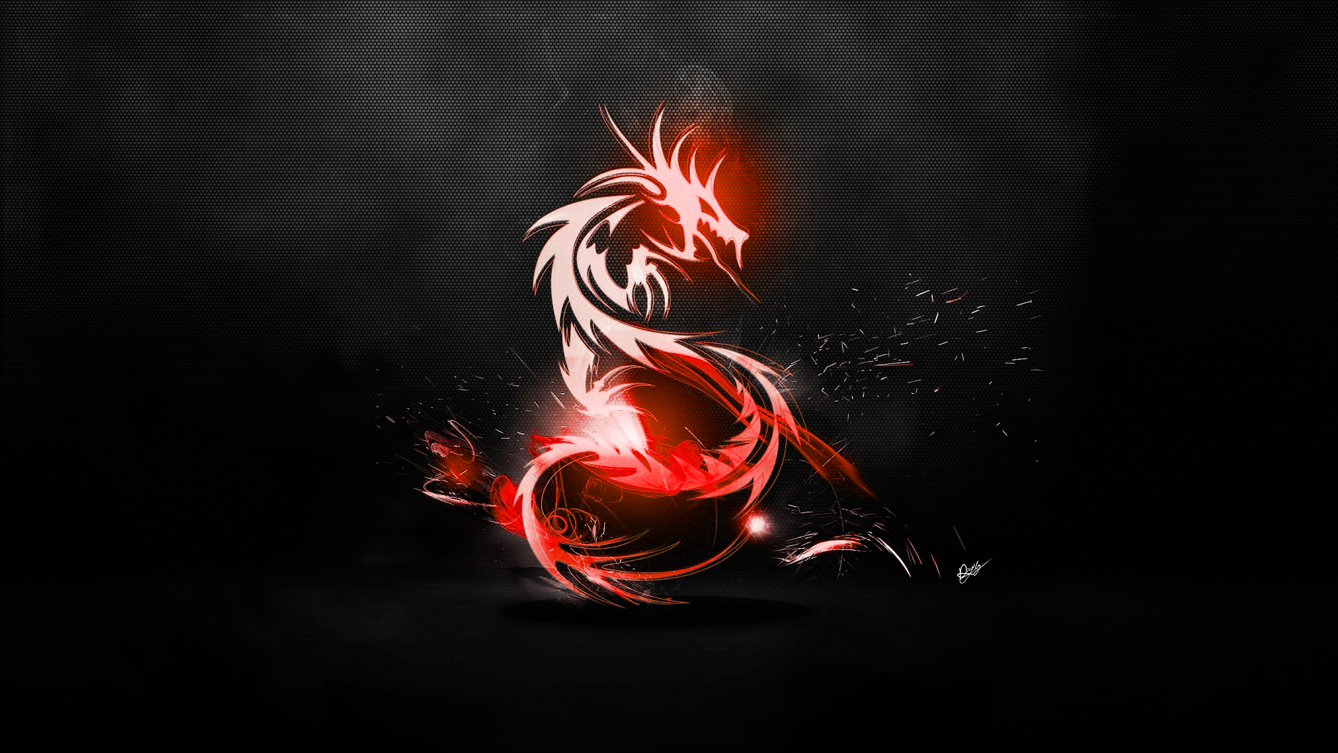 Abstract Dragon Wallpaper RedCarbon fibre black by maciekporebski 1920x1080