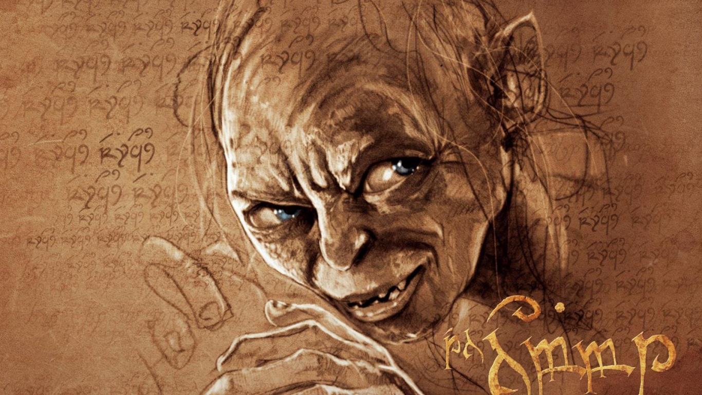 1366x768 The Hobbit Gollum Arwork desktop PC and Mac wallpaper 1366x768