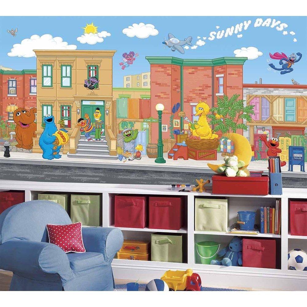 Street Wall Mural Prepasted Wallpaper Elmo Big Bird Decor eBay 1000x1000