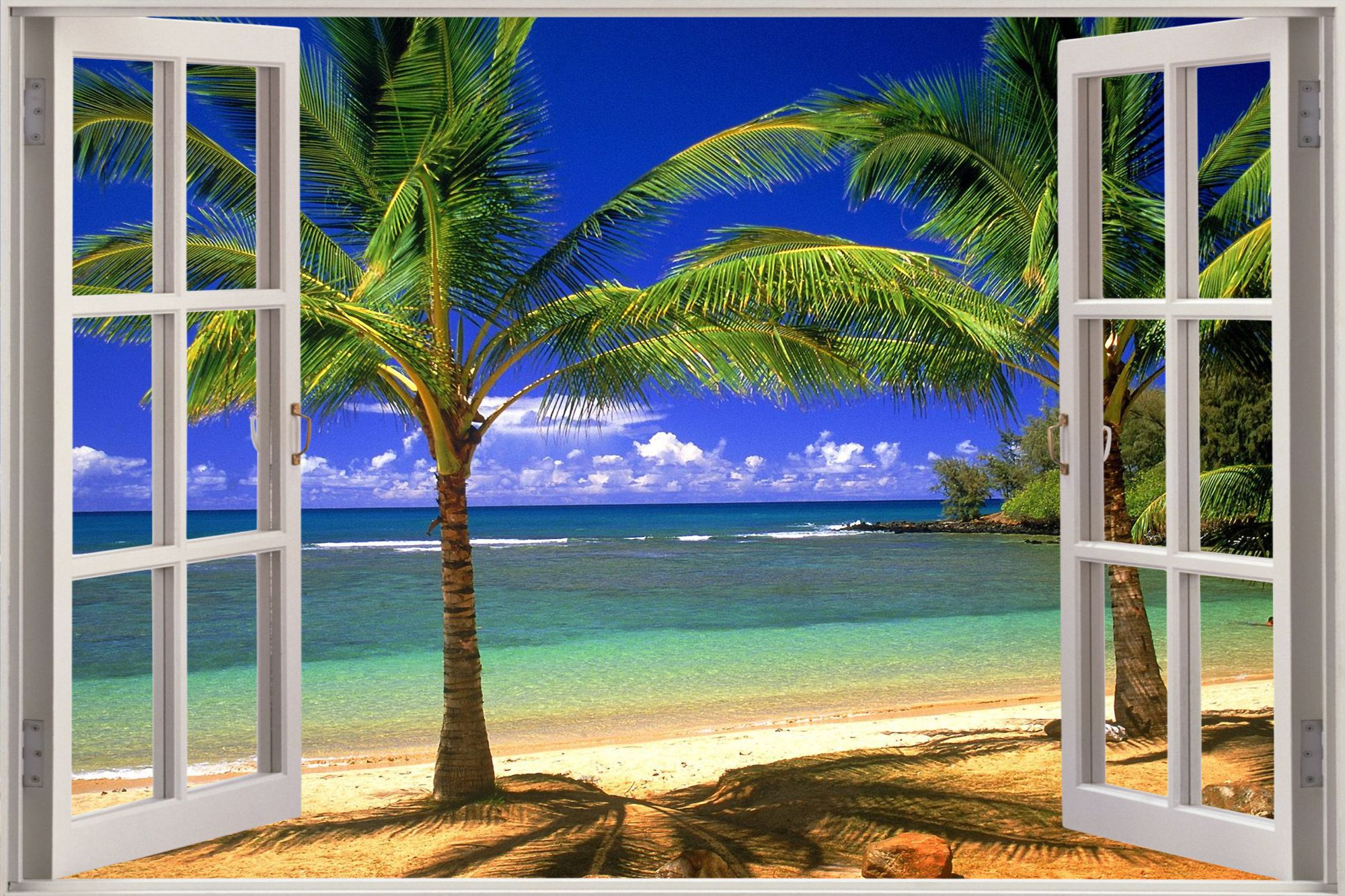 Exotic Beach View Wall Stickers Film Mural Art Decal Wallpaper eBay 2000x1333
