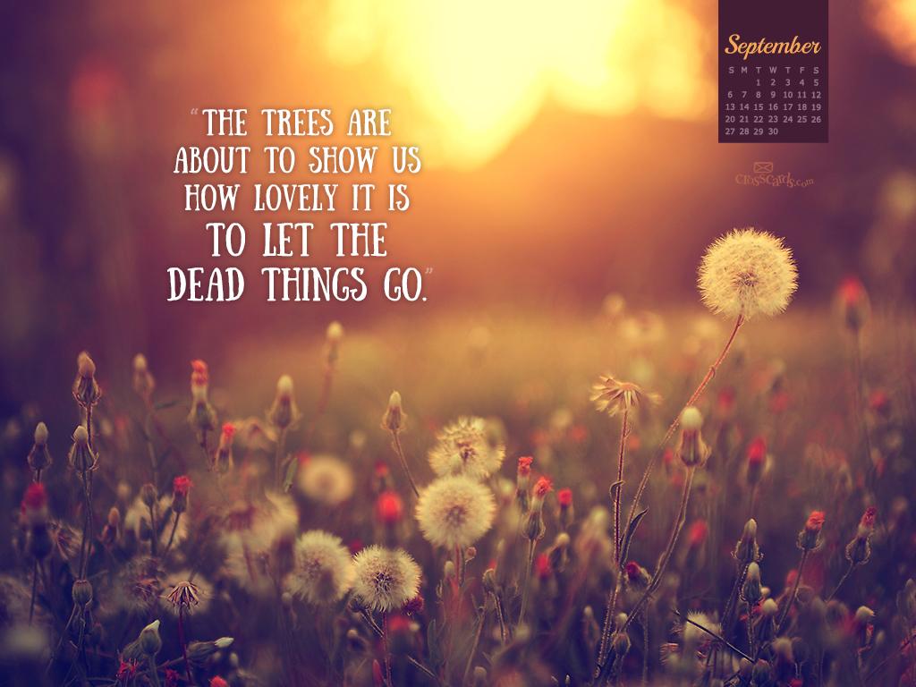 September 2015   Let Things Go Desktop Calendar  Monthly 1024x768