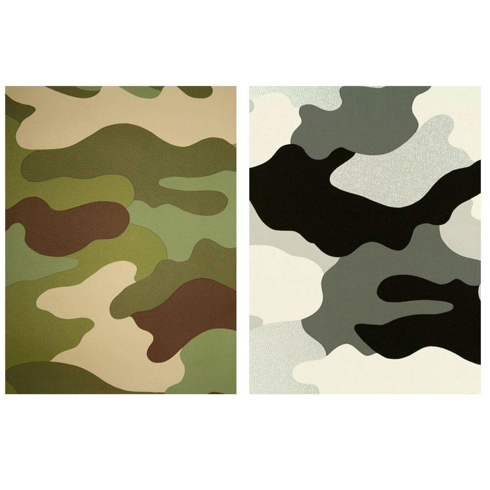 CAMOUFLAGE WALLPAPER 10M KHAKI GREEN GREY BLACK ARMY SOLDIER 1000x1000
