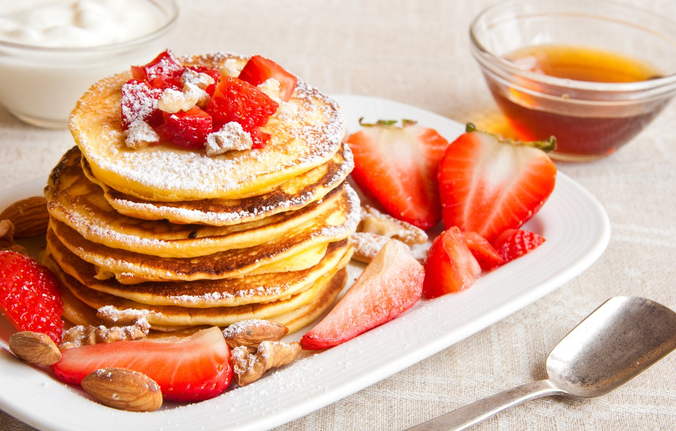 Wallpaper berries strawberry nuts pancakes pancakes images for 1332x850