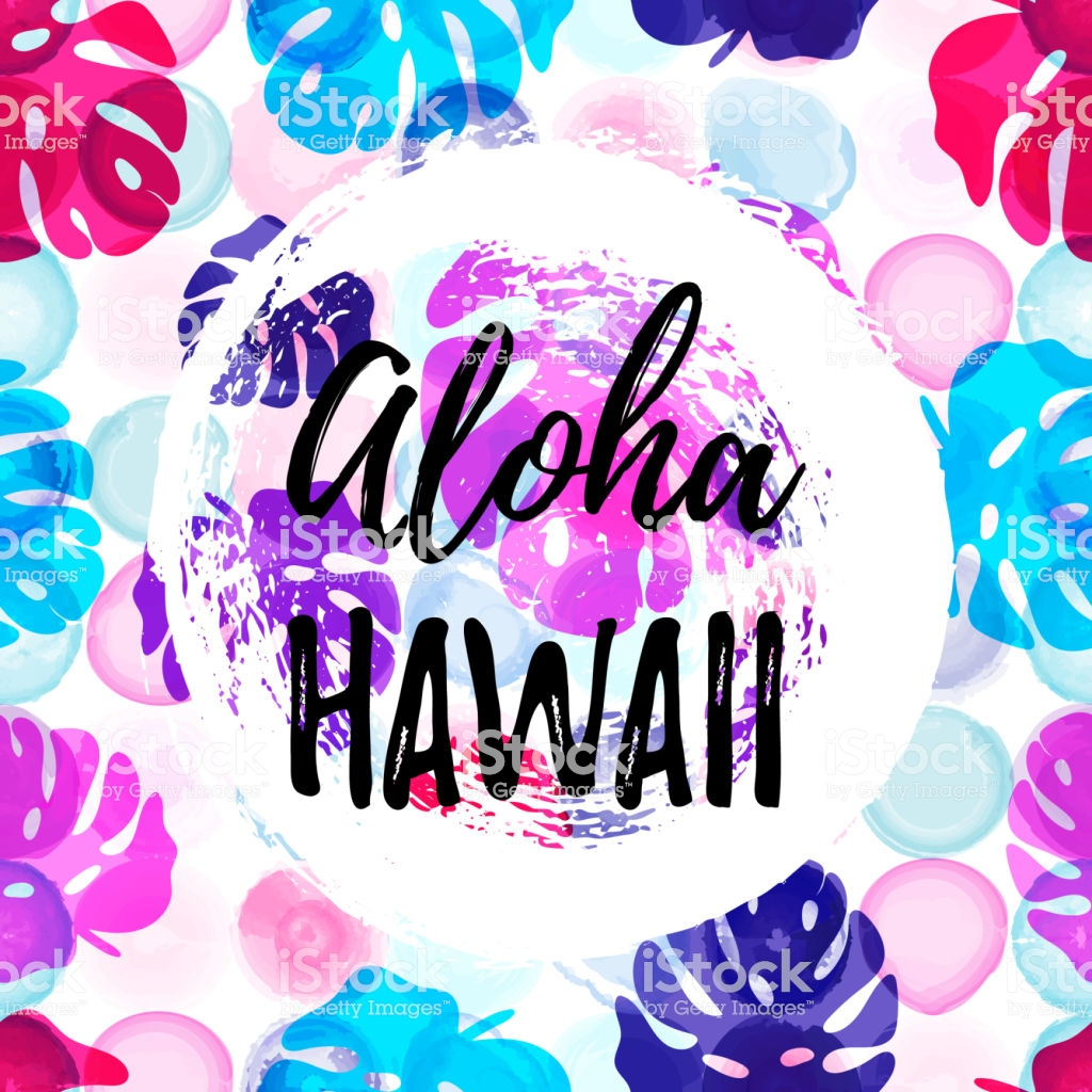 Aloha Hawaii Gteeting Banner Tropical Palm Leaves On Watercolor 1024x1024