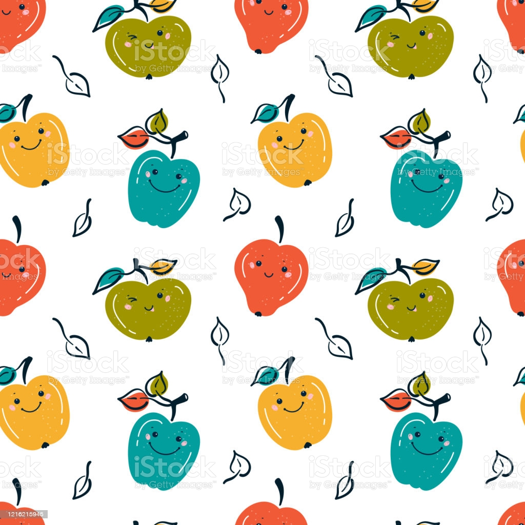 Cute Apple Fruits Colorful Background Seamless Pattern With Kawaii 1024x1024