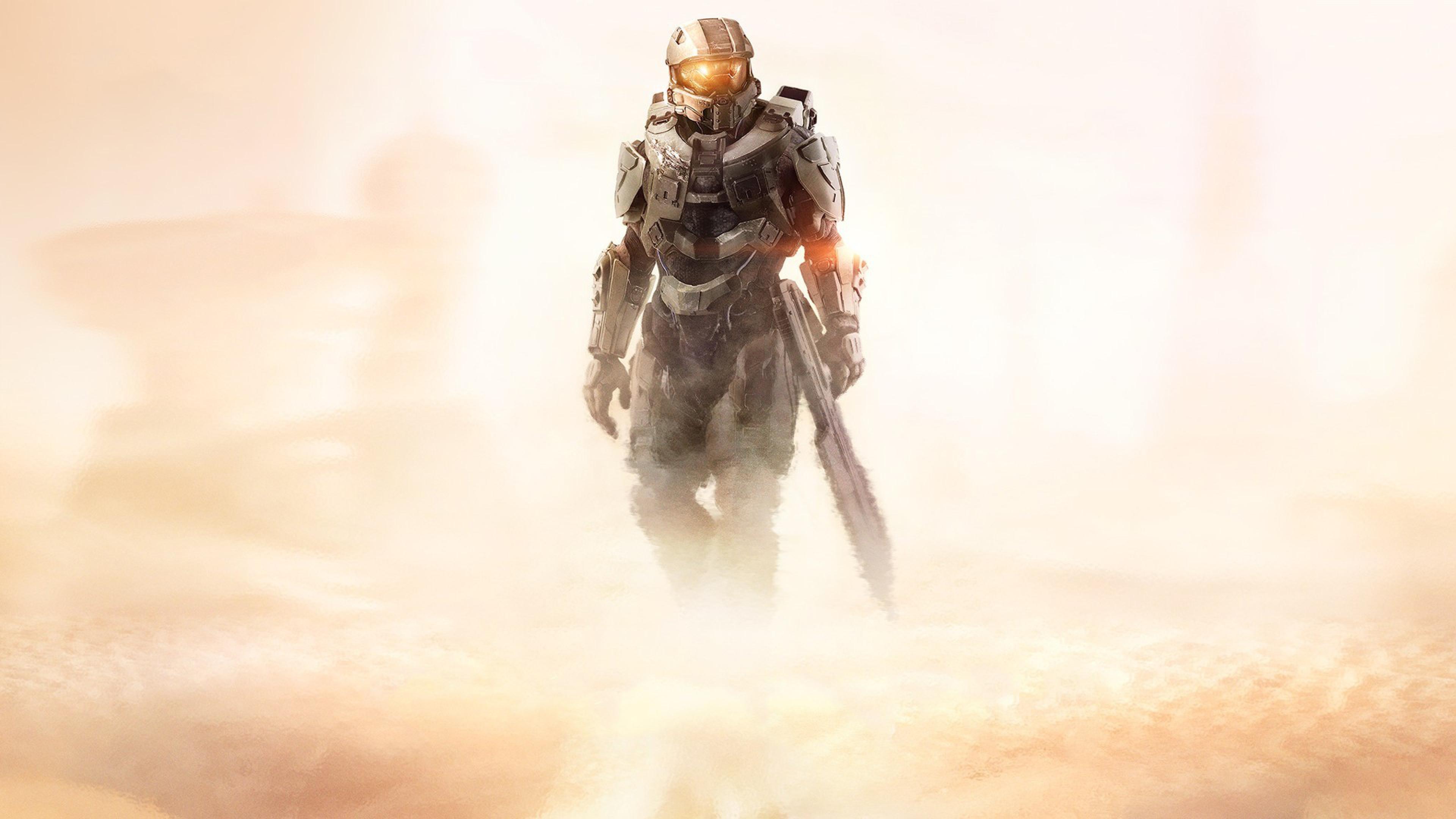 Halo 5 Guardians Master Chief John Halo Game Desert WallpapersByte com 3840x2160