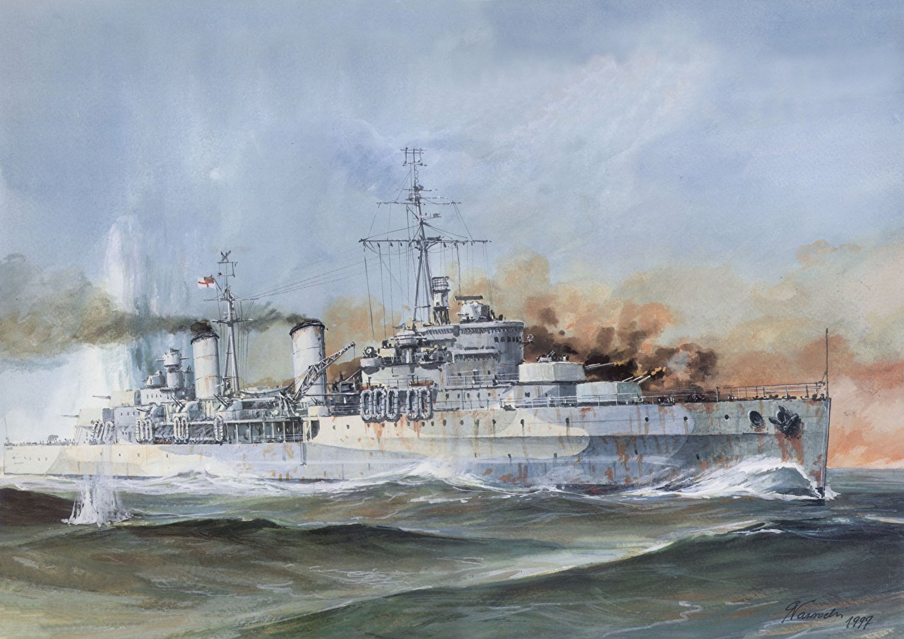 Images HMS Belfast Ships Painting Art military 1280x904