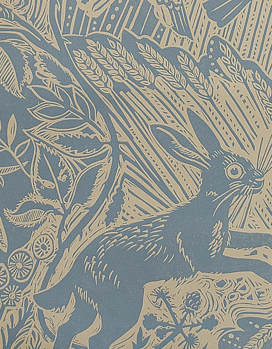 Harvest Hare Wallpaper Excellent lino print wallpaper with Mark Hearld