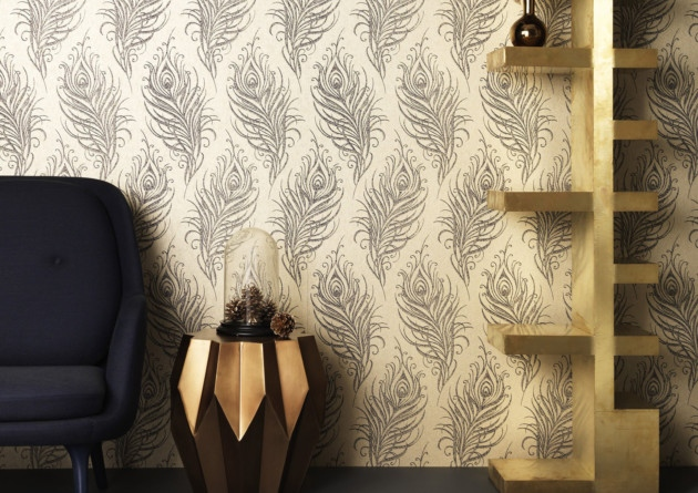 Quill wallpaper in gold 20 a roll available from Graham and Brown 630x445