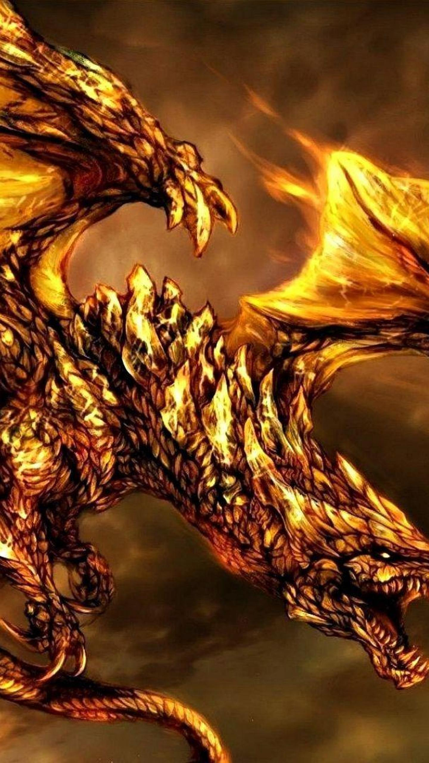 Fire Fantasy Flying fire dragon Dragon HD Wallpapers 1440x2560