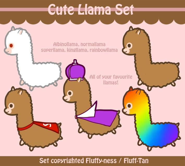 Cute Llama Set by Fluff Tan 710x637