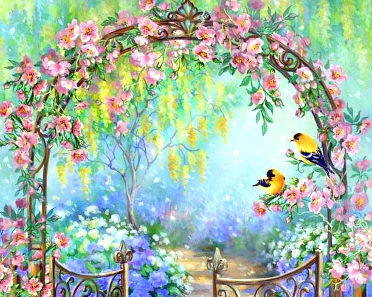 Nexus spring wallpaper wallpapersafari for Pretty flower paintings