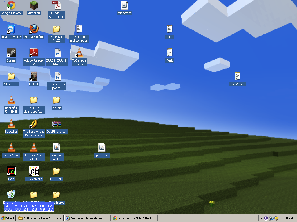 Windows XP Bliss Desktop Background Recreated in Minecraft 1024x768