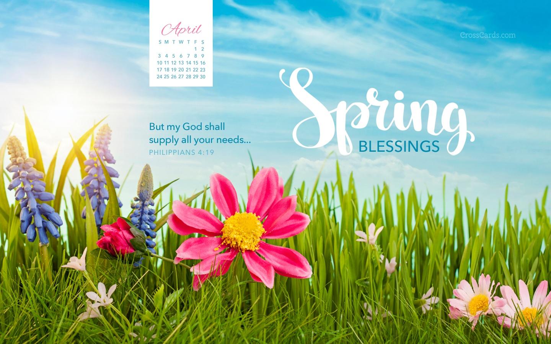 April 2016 Spring Blessings Desktop Calendar April 1440x900