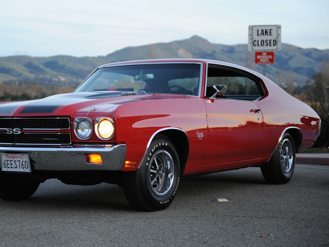 Download Wallpaper 1152x864 chevrolet chevelle ss red 454 1970 1152x864