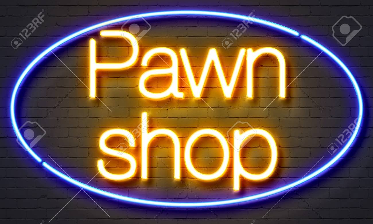 Pawn Shop Neon Sign On Brick Wall Background Stock Photo Picture 1300x780