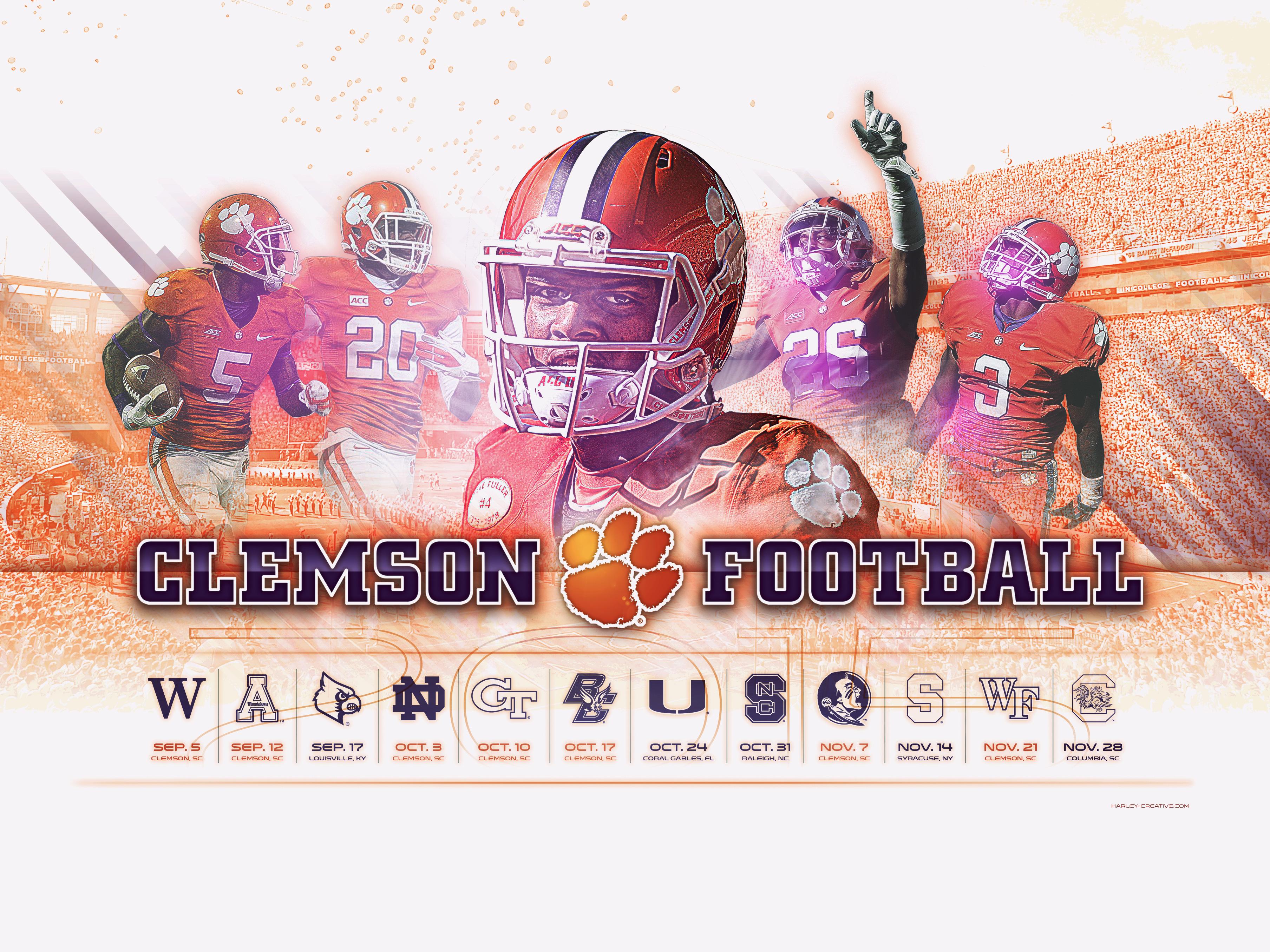 Harley Creative 2015 Clemson Football Wallpaper 3616x2712