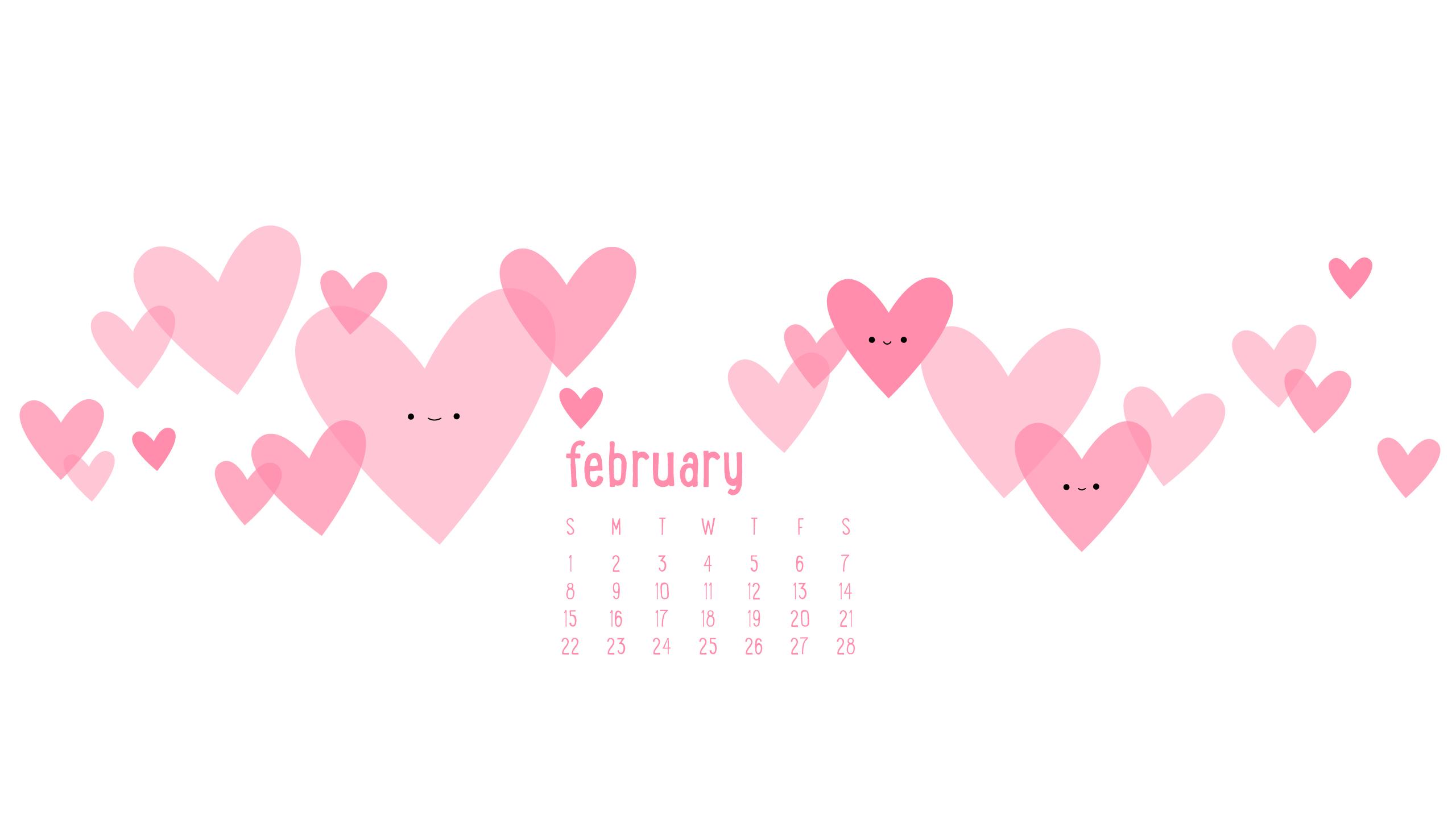 Wild Olive calendar i heart february 2560x1440
