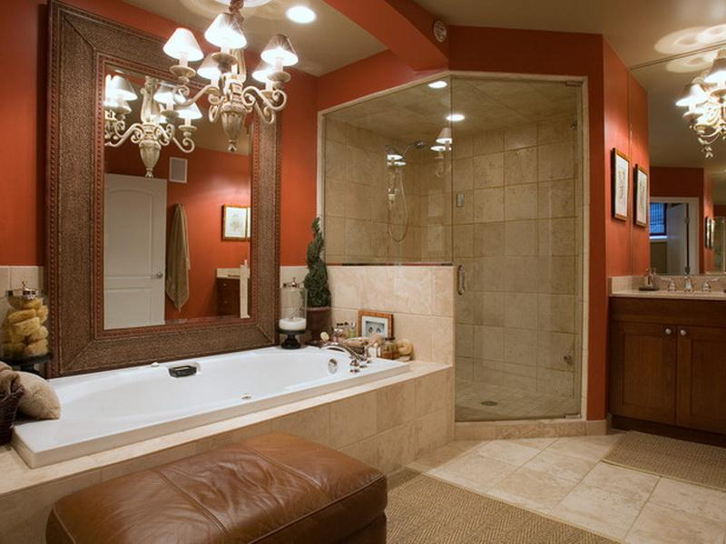 Free Download Orange Paint Color Ideas For Modern Small Bathroom