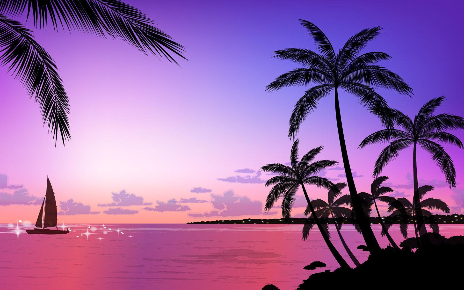 Tropical Beach Sunset Wallpaper 1920x1200