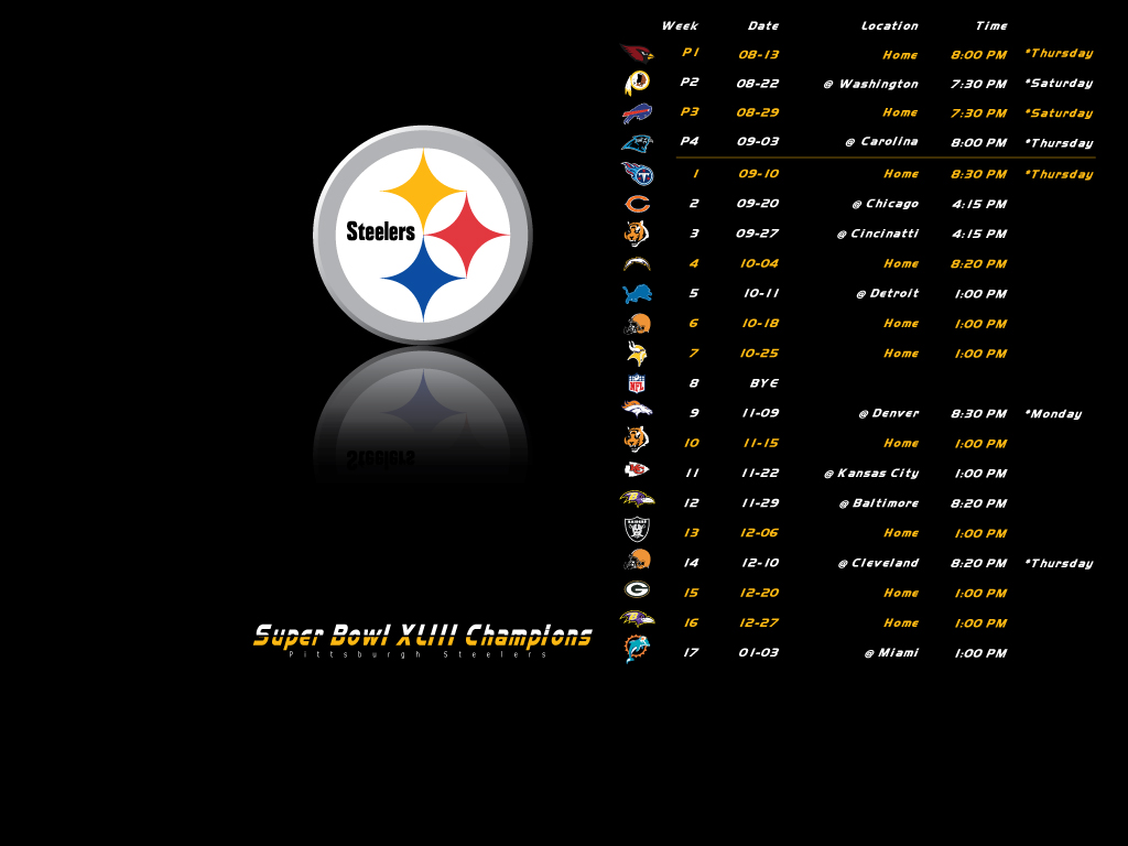 2009 Steelers Schedule Wallpaper   Steelers Fever Forums 1024x768