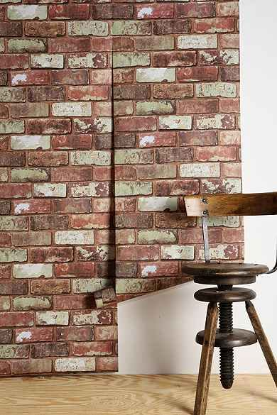 Graham Brown Red Brick Wallpaper Removable via urban outfitterscom 390x585