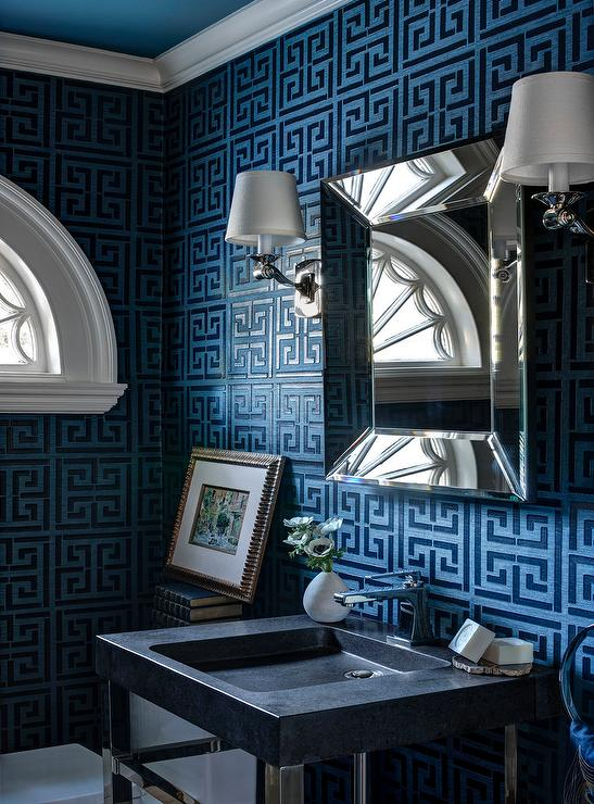 Navy Greek Key Wallpaper   Contemporary   Bathroom 547x740