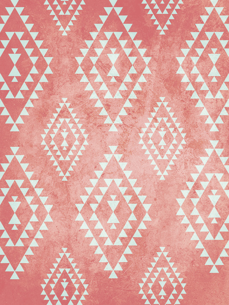 Mint And Coral Colored Wallpaper Mint coral tribal pattern 450x600