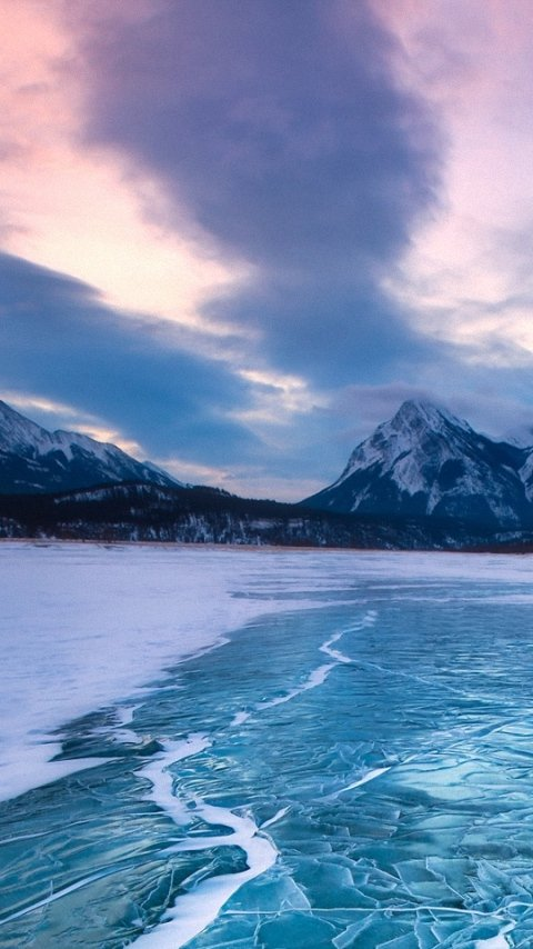 nature frozen icy lake landscape mobile phone wallpapers backgrounds 480x854