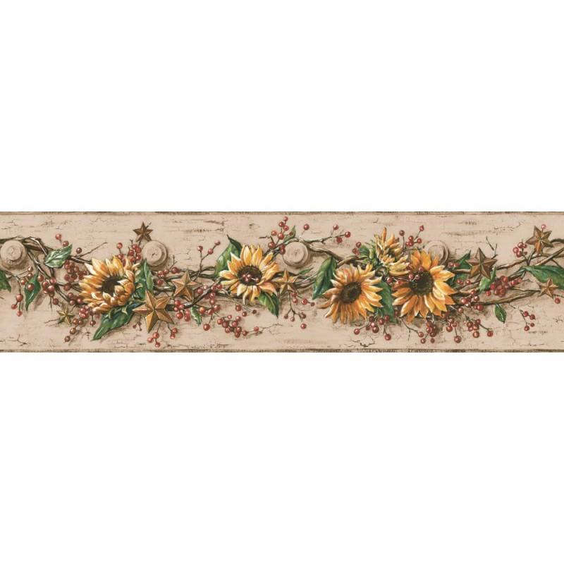 Wallpaper Border Botanical Sunflower With Berries Border 800x800