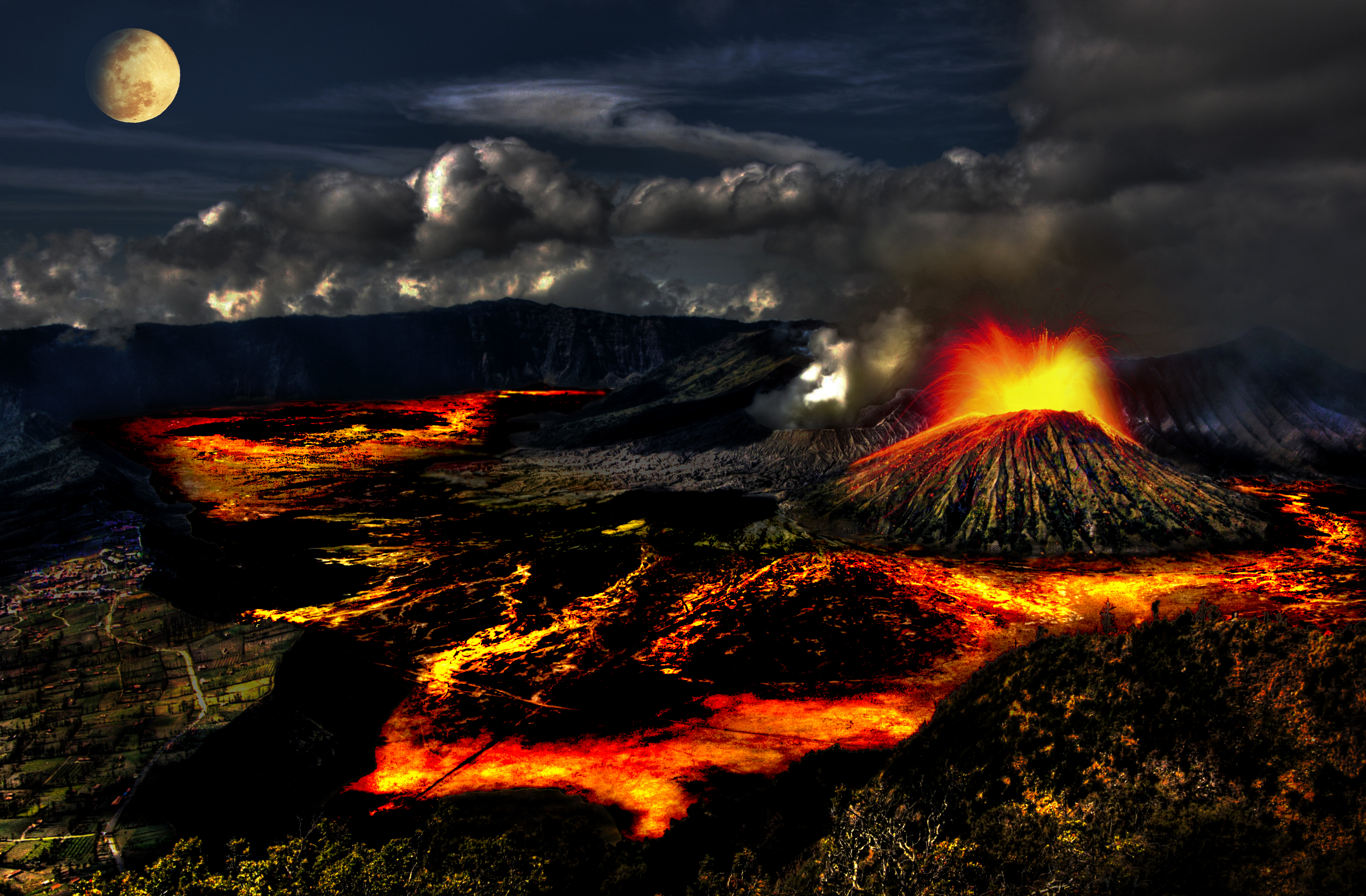 Lava Volcano HD Wallpaper Background Images 3793x2489