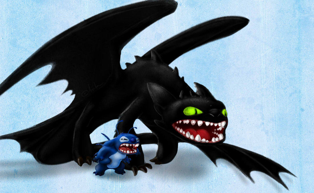 Stitch and Toothless by Arvata 1024x630