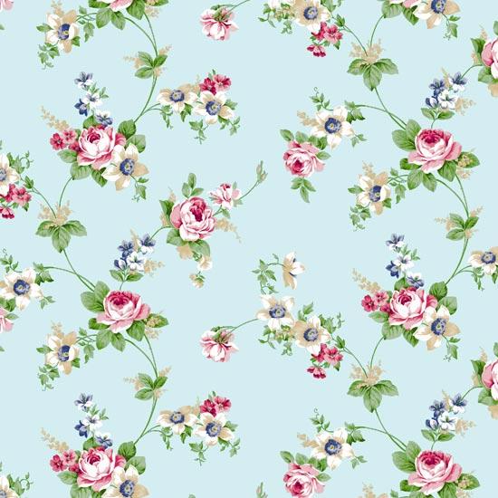 antique rose sky blue flower pattern