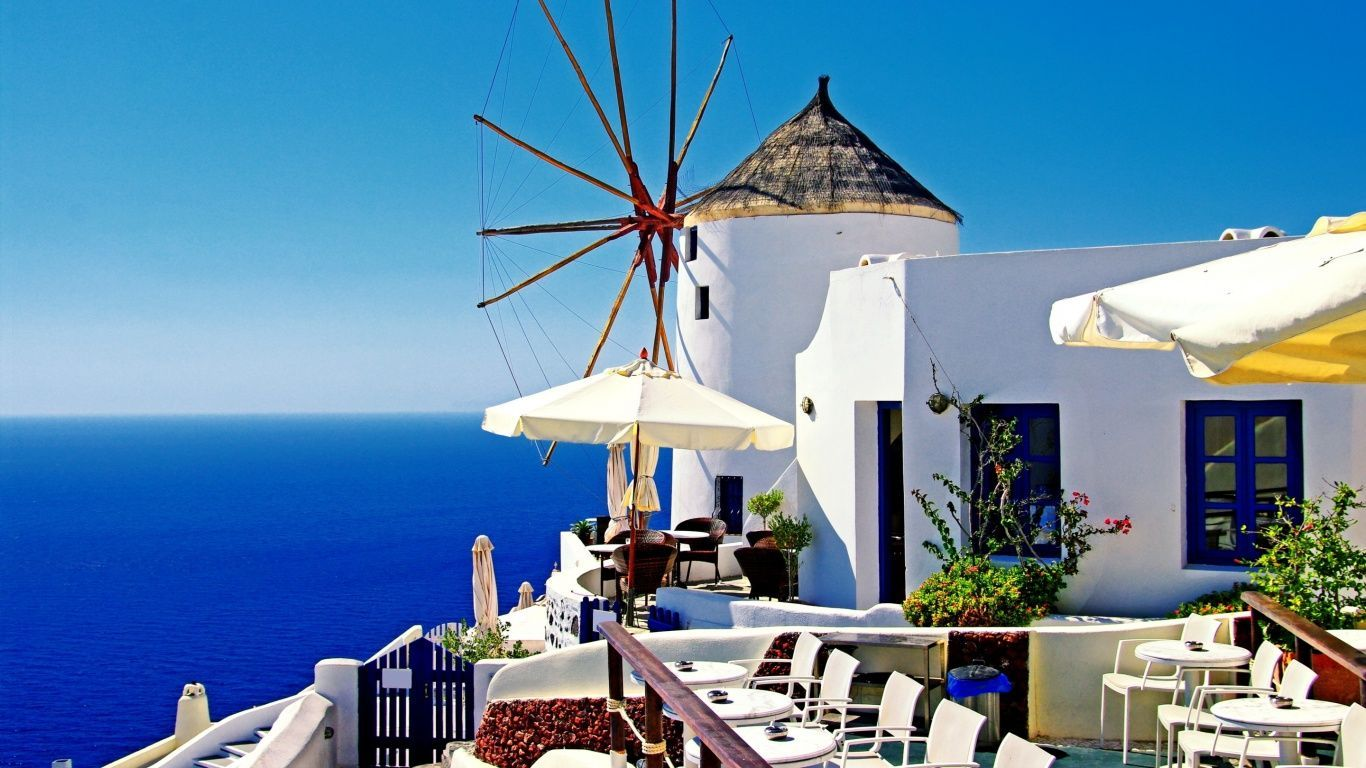Greece Oia Santorini 1 Wallpaper 429822   HD Wallpaper Download 1366x768