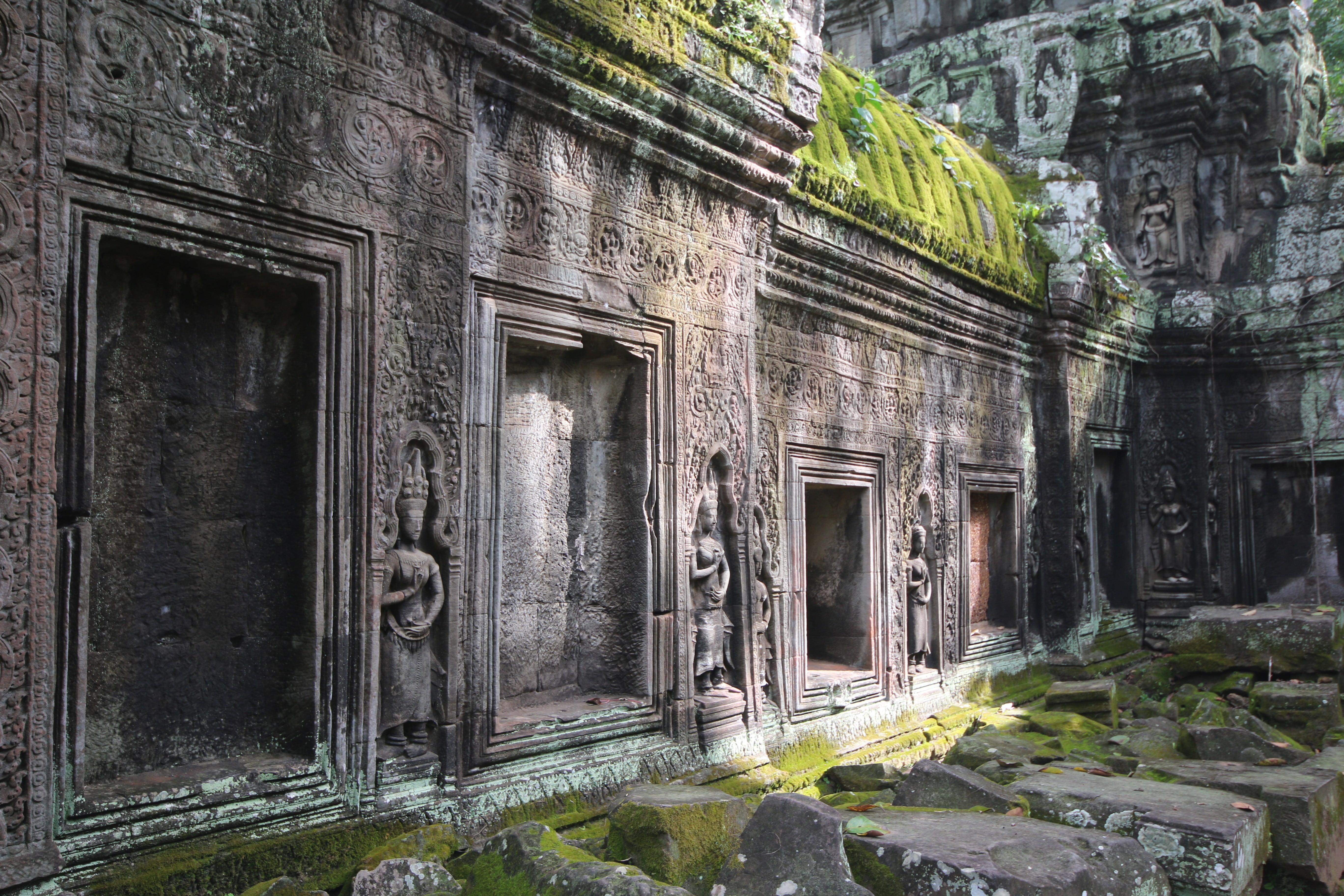 Gray stone temple Siem Reap Angkor Wat temple Hinduism HD 5472x3648