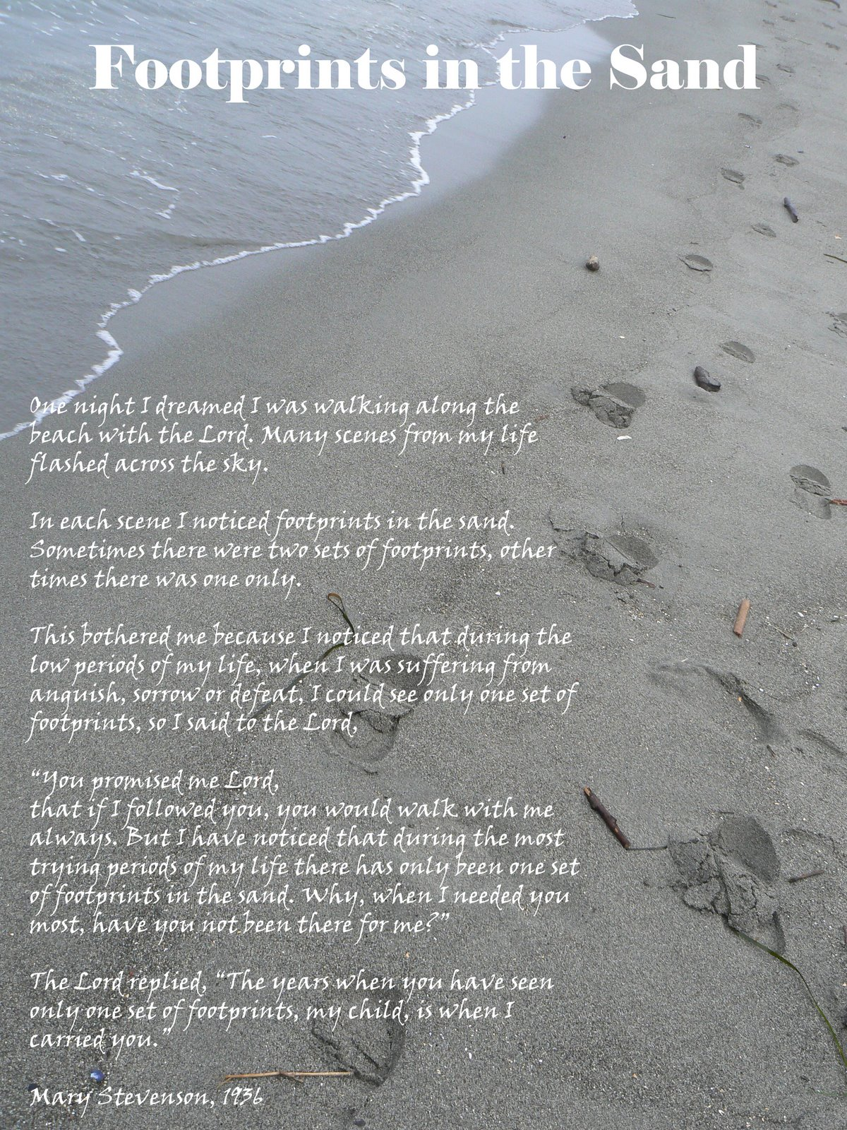 Footprints In The Sand Poem Printable Version Collection of Picture 1200x1600