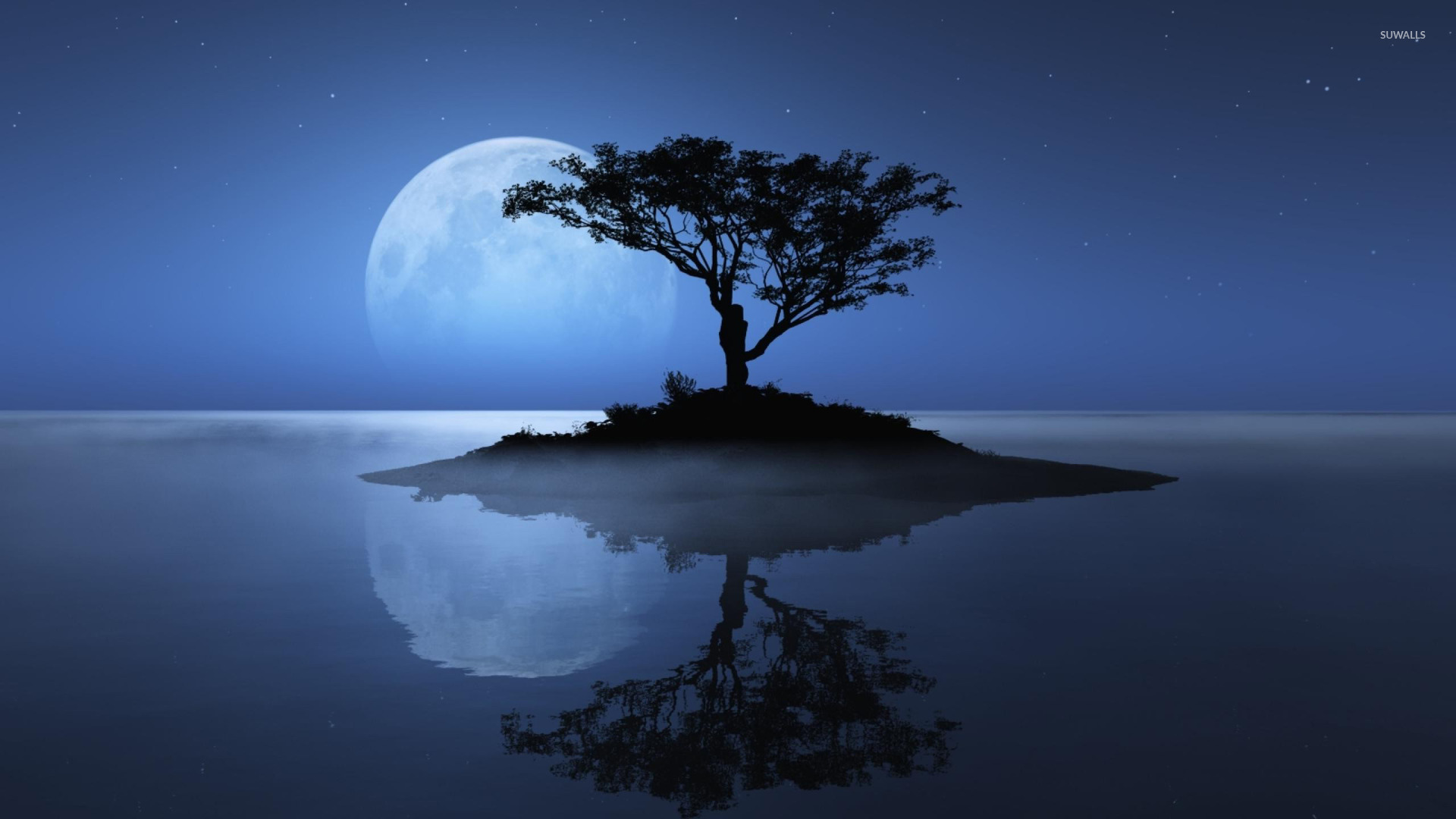 Blue moon over the water wallpaper   Fantasy wallpapers   12483 1920x1080