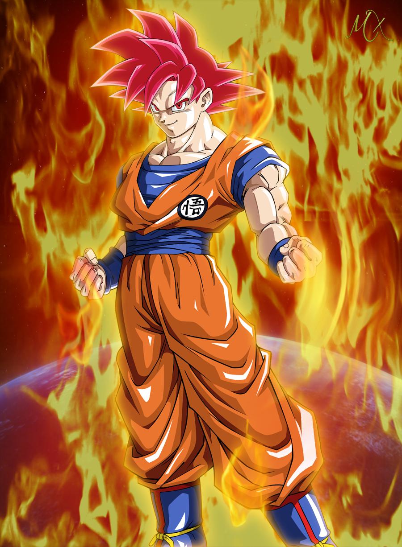 Goku Super Saiyan God by Maniaxoi 900x1227