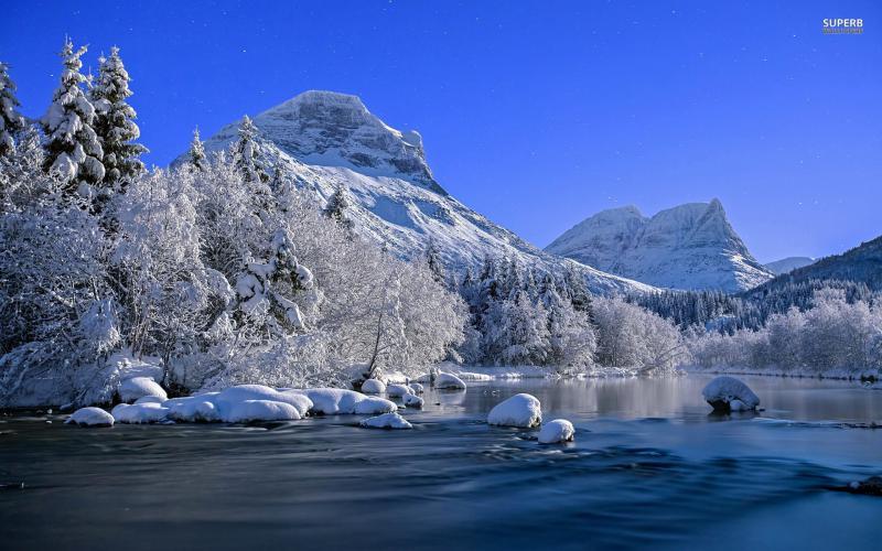 HD Mountain River In Winter Wallpaper Download   63907 800x500