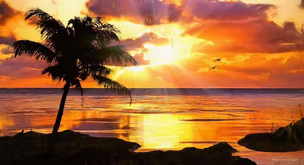 Tropical Island Beach Ocean Sunset: Free Sunset Tropical Island Wallpaper