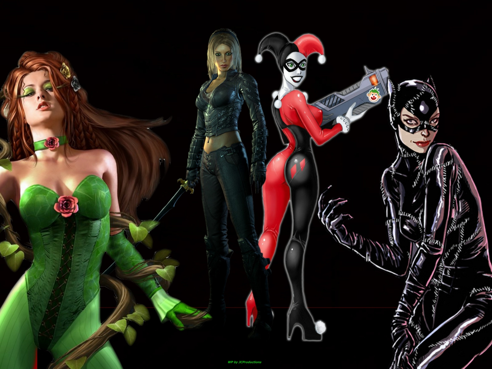 Free Download Poison Ivy Catwoman Talia Al Ghul And Harley Quinn