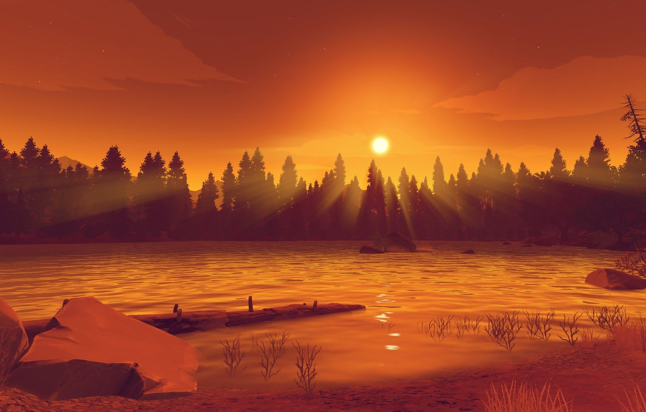 Wallpaper landscape the game Firewatch Observation tower images 1332x850
