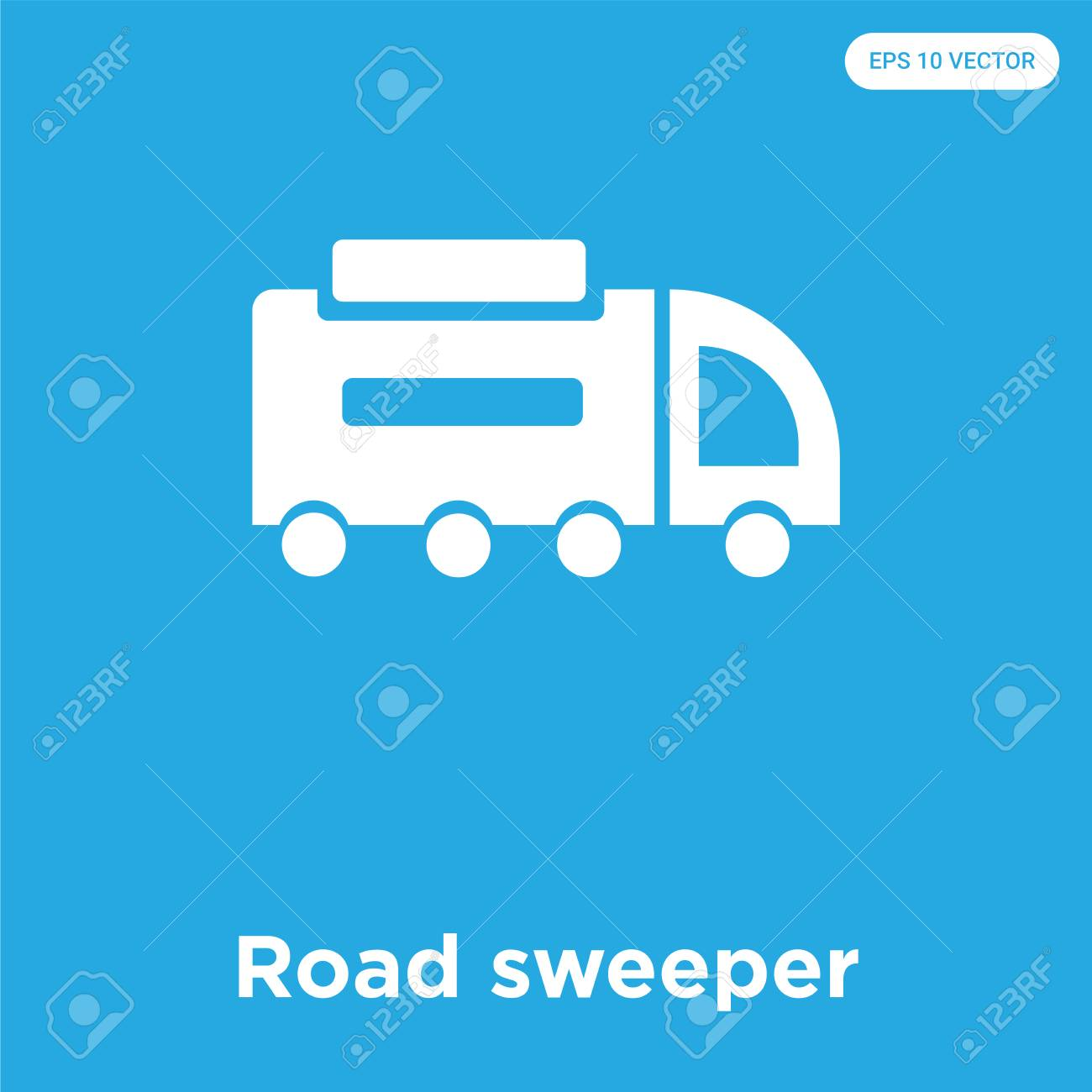 Road Sweeper Vector Icon Isolated On Blue Background Sign And 1300x1300
